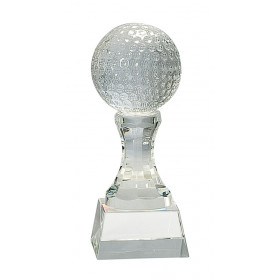 Crystal Golf Ball on Clear Pedestal Base