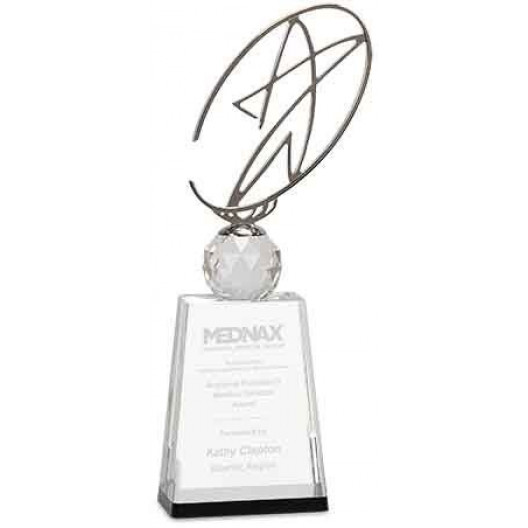 Clear/Black Crystal Award with Silver Metal Oval Star