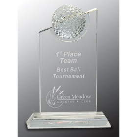 Inset Crystal Golf Ball on Clear Base