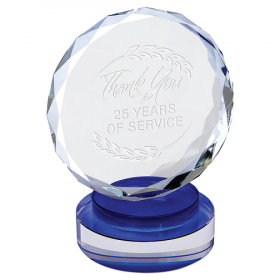Round Facet Crystal on Blue & Clear Round Base