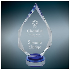 Diamond Crystal on Blue & Clear Round Base