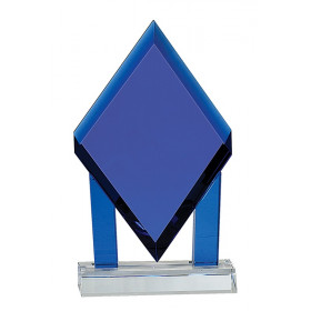 Blue Crystal Floating Diamond with Blue Columns on Clear Base