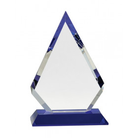 Clear Crystal Diamond on Blue Pedestal Base