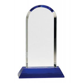 Clear Crystal Dome on Blue Pedestal Base