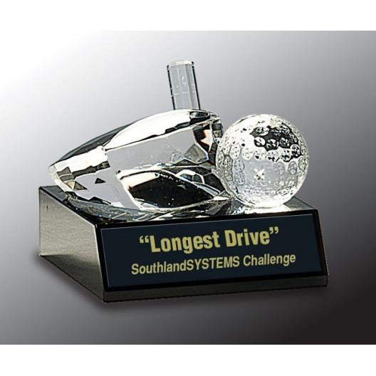 Clear Crystal Golf Ball & Club on Black Pedestal Base