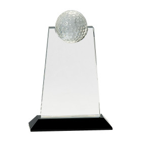 Clear Crystal Tablet with Inset Golf Ball on Black Pedestal Base