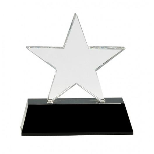 Clear Crystal Star on Black Pedestal Base
