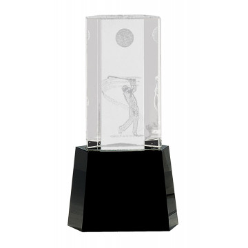 Clear Crystal Golf Scene on Black Pedestal Base