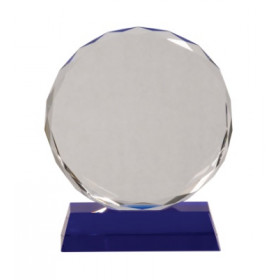 Round Facet Crystal on Blue Pedestal Base