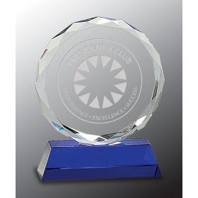Round Facet Crystal on Blue Pedestal Base