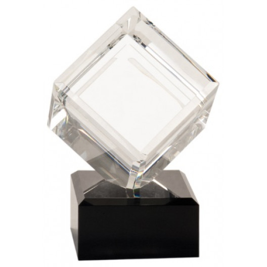 Clear Crystal Cube on Black Pedestal Base