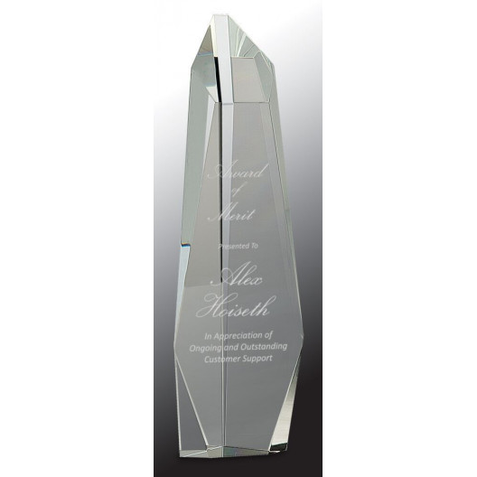 Clear Crystal Facet Slant-Top Tower
