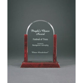 Jade Dome Gateway Glass Award with Rosewood Finish Base
