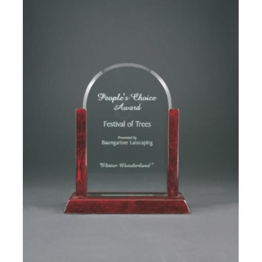 Jade Dome Gateway Glass Award with Rosewood Finish Base