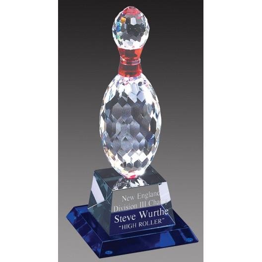 Crystal Bowling Trophy on Blue Crystal Base