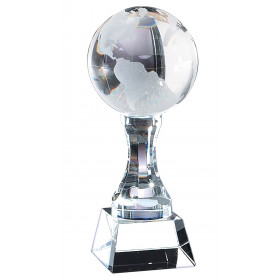 Crystal Frosted World Globe on Crystal Base & Pedestal