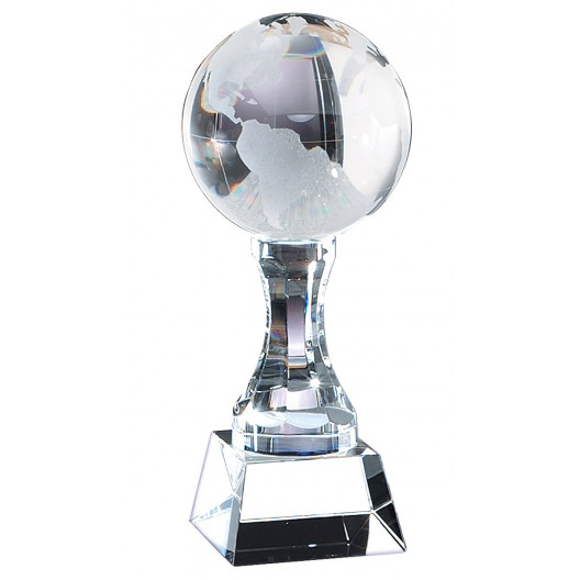 Crystal Frosted World Globe on Crystal Base & Pedestal