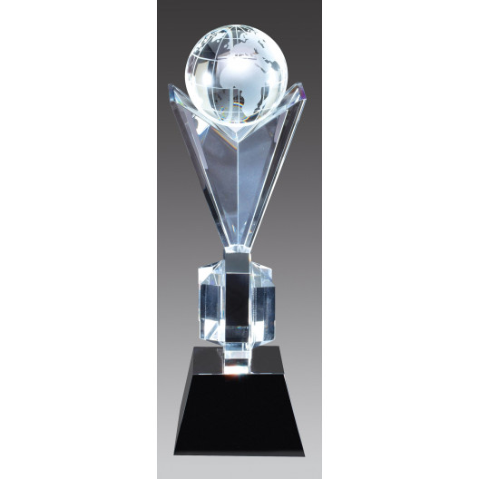 Crystal Frosted World Victory Globe on Black Crystal Base