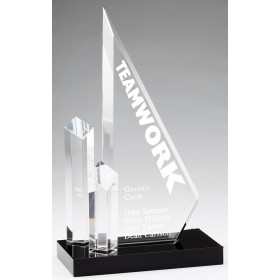 Crystal Triangle with Diamond Towers on Black Crystal Base