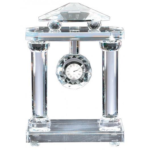 Crystal Clock w/ Roman Pillars