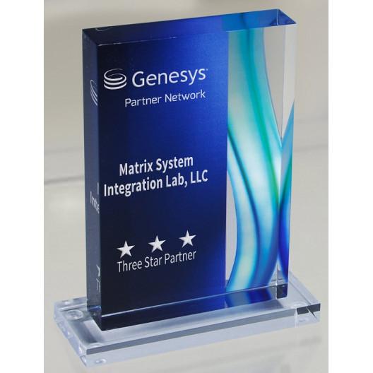 Aqua Acrylic Award with Base