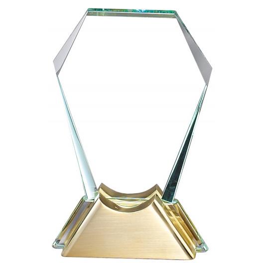 Crystal Polygon on Gold Finish Base