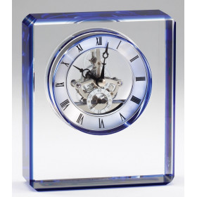 Crystal Rectangular Clock w/ Blue Edges