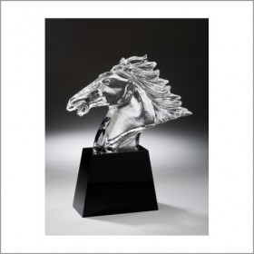 Fury Horse Head on Black Crystal Base