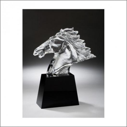 Fury Horse Head on Black Crystal Base