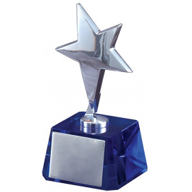 Silver Star on Blue Base