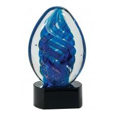 Blue Oval Swirl Art Glass