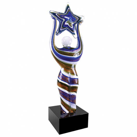 Glass Figure with Star and with Black Base