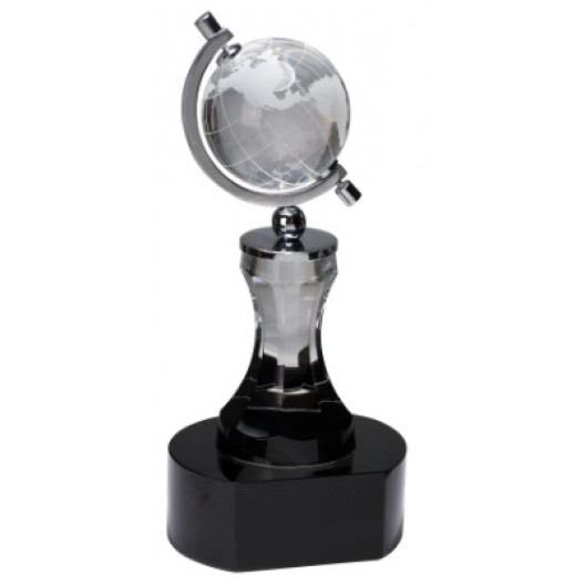 Crystal Spinning Globe with Clear Tower on Black Base