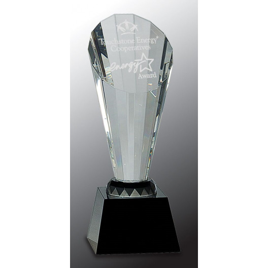 Clear Crystal Faceted Rising Spire on Black Base