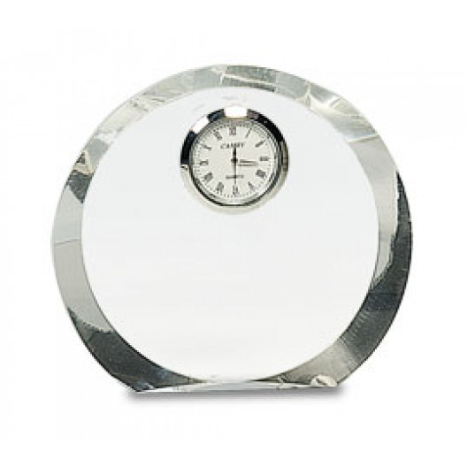 Clear Round Crystal with Clock