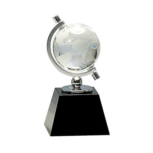 Crystal Spinning Globe on Black Base