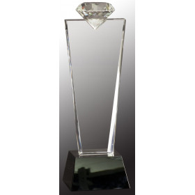 Crystal Diamond Top Award on Black Pedestal Base