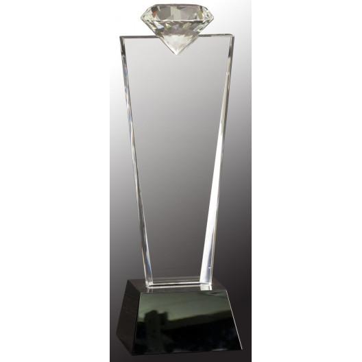 Crystal Diamond Top Award on Black Pedestal Base