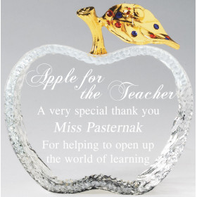 Crystal Apple with Gold Jeweled Leaf