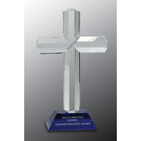 Crystal Cross on Blue Pedestal Base