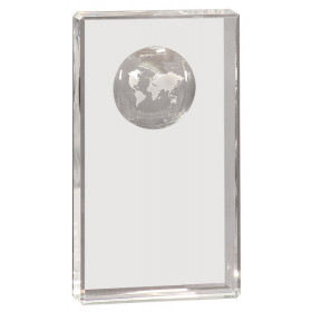 Clear Crystal Rectangle with Globe Etching