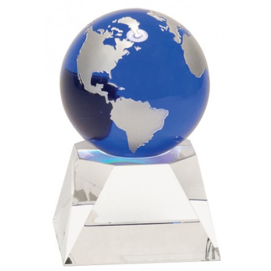 Blue Crystal Globe on Clear Crystal Base