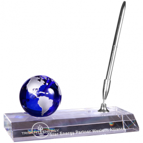 Blue Crystal Globe with Base and Pen