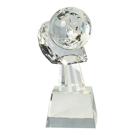 Clear Crystal Globe in Hand