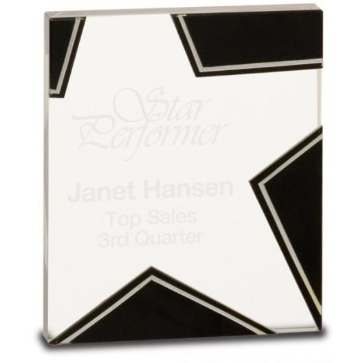 Silver/Black Star Glass for Rising Star Achievement
