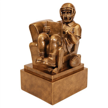Antique Gold Fantasy Football Man in Chair Resin