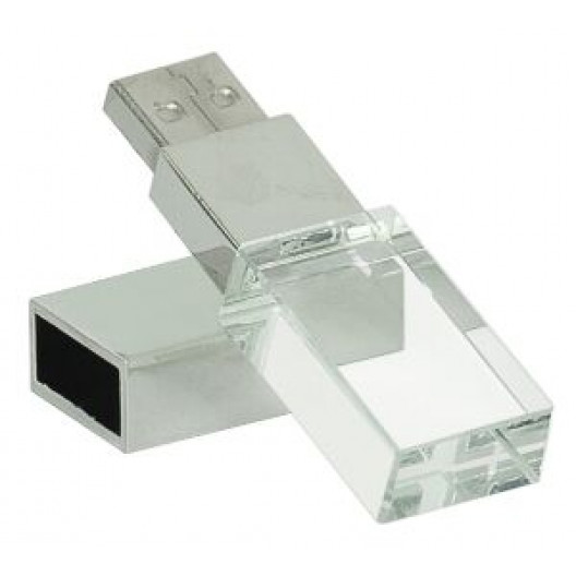 8GB Glass USB Flash Drive with White LED