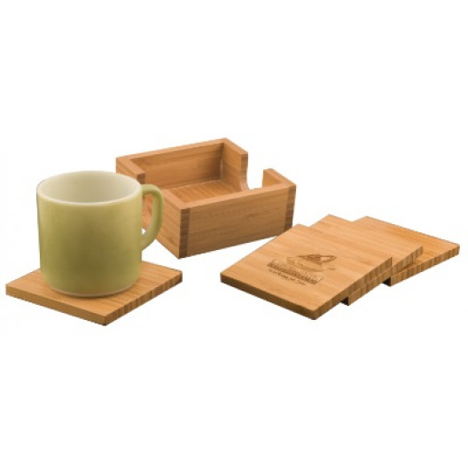 Bamboo 4-Coaster Set & Holder