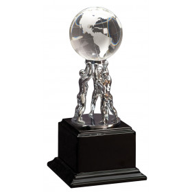 Crystal Globe on Silver Metal Stand