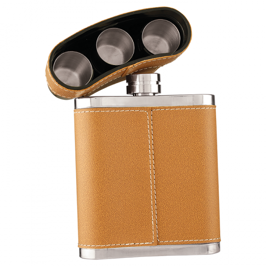 Leather Wrapped Stainless Steel Flask Kit